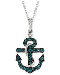 Le Vian - Metallic Diamond Anchor Pendant Necklace (1/4 Ct. T.w.) In 14k White Gold - Lyst