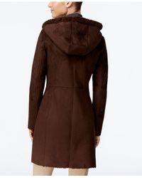 Jones New York - Brown Hooded Faux-shearling Walker Coat - Lyst
