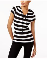 INC International Concepts | Black Petite Striped Lace-up Top | Lyst