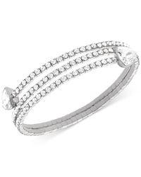 Swarovski - Metallic Twisty Silver-tone Crystal Triangle Bangle Bracelet - Lyst