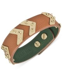 The Sak - Green Bracelet, Gold-tone Signature Chevron Tobacco Leather Bracelet - Lyst
