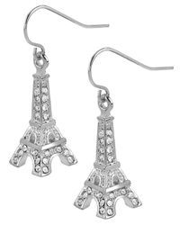Betsey Johnson | Metallic Silver-tone Crystal Eiffel Tower Drop Earrings | Lyst