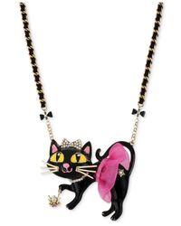 Betsey Johnson | Metallic Antique Gold-tone Tutu Cat Pendant Necklace | Lyst