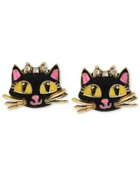 Betsey Johnson | Multicolor Antique Gold-tone Cat Stud Earrings | Lyst