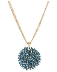 Kenneth Cole | Metallic Necklace, Gold-tone Woven Faceted Bead Pendant Necklace | Lyst