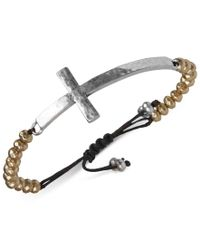 Lucky Brand | Metallic Two-tone Cross Pendant Beaded Bracelet | Lyst
