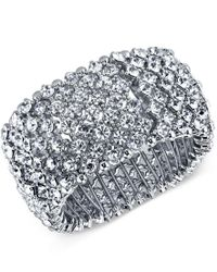 2028   Metallic Silver-tone Wide Pave Stretch Bracelet, A Macy's Exclusive Style   Lyst