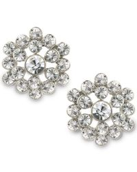 2028 | Metallic Silver-tone Crystal Cluster Button Earrings, A Macy's Exclusive Style | Lyst