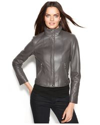 Calvin Klein | Gray Seamed Leather Moto Jacket | Lyst