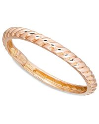 Macy's | Metallic 14k Rose Gold Polished Cable Ring | Lyst