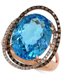 Effy Collection - Bleu Rose By Effy Blue Topaz (12-1/6 Ct. T.w.) And Brown Diamond (1/3 Ct. T.w.) Orbit Ring In 14k Rose Gold - Lyst