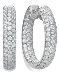 Arabella | Multicolor Sterling Silver Swarovski Zirconia Pave Hoop Earrings (8-1/2 Ct. T.w.) | Lyst