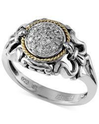 Effy Collection | Metallic Diamond Accent Scrolled Ring In Sterling Silver And 18k Gold | Lyst