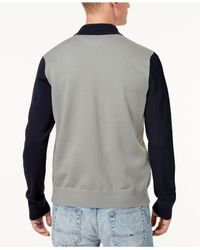 Tommy Hilfiger - Blue Terrenz Colorblocked Logo Appliqué Baseball Sweater, Created For Macy's for Men - Lyst