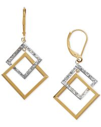 Macy's - Metallic Two-tone Rhombus Drop Earrings In 14k Gold & White Gold - Lyst