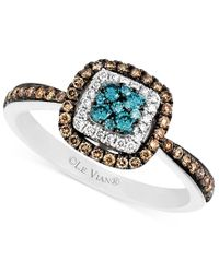 Le Vian   Blue And White Diamond And Diamond Accent Ring In 14k White Gold (3/8 Ct. T.w.)   Lyst