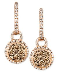 Le Vian | Brown Chocolate And White Diamond Circle Drop Earrings (1 Ct. T.w.) In 14k Rose Gold | Lyst