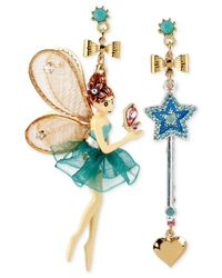 Betsey Johnson | Metallic Antique Gold-tone Fairy And Wand Mismatch Drop Earrings | Lyst