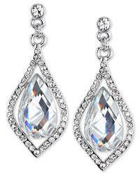 2028 - Metallic Silver-tone Crystal Caged Pearshape Drop Earrings - Lyst