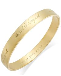 "kate spade new york | Metallic Gold-tone ""happily Ever After"" Bridal Idiom Bangle Bracelet 