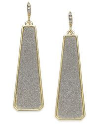 ABS By Allen Schwartz | Metallic Gold-tone Gray Texture Linear Drop Earrings | Lyst
