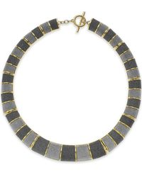 ABS By Allen Schwartz - Metallic Gold-tone Gray Texture Collar Necklace - Lyst