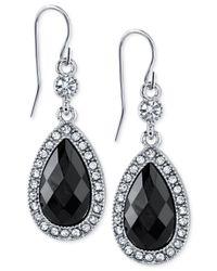 2028 | Metallic Silver-tone Black Stone Crystal Teardrop Earrings | Lyst