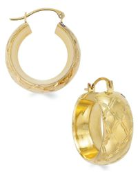 Signature Gold - Metallic Quilted Small Hoop Earrings In 14k Gold Over Resin - Lyst