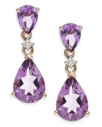 Macy's - Purple Amethyst (3-1/8 Ct. T.w.) And Diamond Accent Earrings In 14k Rose Gold - Lyst