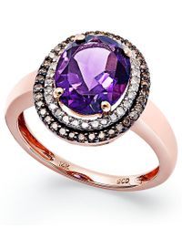 Macy's | Multicolor Amethyst (2-3/8 Ct. T.w.) And Diamond (1/3 Ct. T.w.) Ring In 14k Rose Gold | Lyst