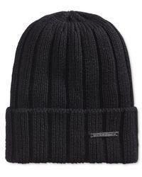 Sean John - Black Men's Rib Knit Cuff Beanie Hat for Men - Lyst