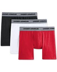 Under Armour   Black Men's Cotton Stretch 6-inch Boxerjocks 3-pack for Men   Lyst