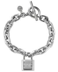 Michael Kors | Metallic Chain And Logo Padlock Bracelet | Lyst