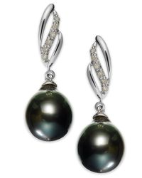 Macy's | 14k White Gold Tahitian Pearl (9mm) And Diamond (1/10 Ct. T.w.) Drop Earrings | Lyst