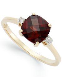 Macy's | Metallic 14k Gold Garnet (1-7/8 Ct. T.w.) And Diamond Accent Ring | Lyst