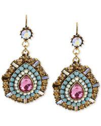 Betsey Johnson | Multicolor Gold-tone Multi-color Crystal Teardrop Earrings | Lyst