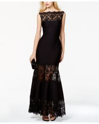 Tadashi Shoji | Black Boatneck Paneled Gown | Lyst