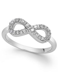 Macy's | Metallic Diamond Infinity Ring In Sterling Silver (1/10 Ct. T.w.) | Lyst