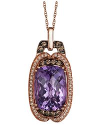 Le Vian - Amethyst (5-3/4 Ct. T.w.), White (1/8 Ct. T.w.) And Chocolate (1/6 Ct. T.w.) Diamond Pendant Necklace In 14k Rose Gold - Lyst