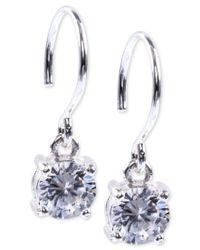 Anne Klein   Metallic Silver-tone Crystal Drop Earrings   Lyst