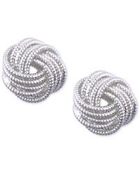 Nine West | Metallic Silver-tone Love Knot Stud Earrings | Lyst