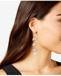 Betsey Johnson - Metallic Rose Gold-tone Crystal & Imitation Pearl Butterfly Mismatch Earrings - Lyst
