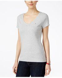 Tommy Hilfiger - Gray V-neck T-shirt - Lyst