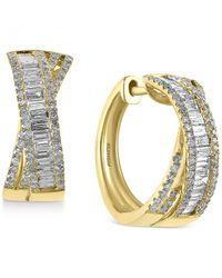 Effy Collection - Metallic D'oro By Effy Diamond Crisscross Hoop Earrings (1 Ct. T.w.) In 14k Gold - Lyst