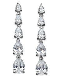 Arabella | Metallic Swarovski Zirconia Graduated Linear Earrings In Sterling Silver (8 Ct. T.w.) | Lyst