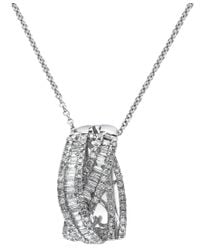 Effy Collection | Metallic Classique By Effy Diamond Crossover Pendant Necklace In 14k White Gold (3/4 Ct. T.w.) | Lyst