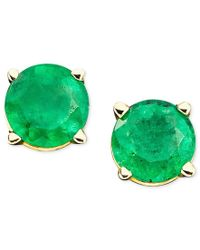 Macy's | Green Emerald Stud Earrings In 14k Gold (1 Ct. T.w.) | Lyst