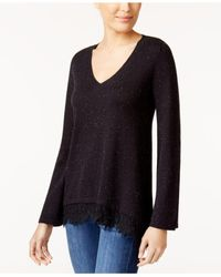 Style & Co. - Black Lace-trim Sweater - Lyst