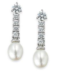 Arabella   Metallic Cultured Freshwater Pearl (8mm) And Swarovski Zirconia (3-5/8 Ct. T.w.) Drop Earrings In Sterling Silver   Lyst