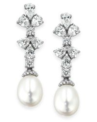 Arabella | Metallic Bridal Cultured Freshwater Pearl (8mm) And Swarovski Zirconia (1-3/4 Ct. T.w.) Earrings In Sterling Silver | Lyst